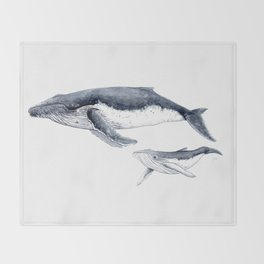 Humpback whale with calf Throw Blanket