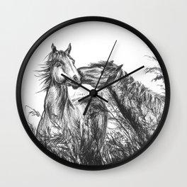 Kiss_Charcoal drawing Wall Clock