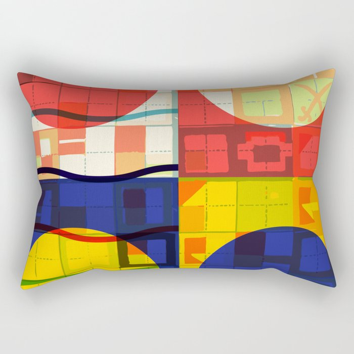 Red Blue Yellow Geometric Sun Abstract Art Rectangular Pillow