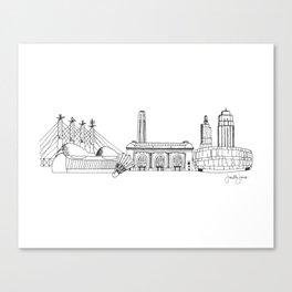 Kansas City Skyline Illustration Black Line Art Canvas Print