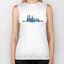 NY New York City Skyline NYC Watercolor art Biker Tank