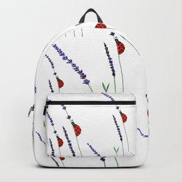 red ladybug and purple lavender Backpack