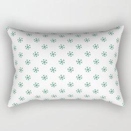 Cadmium Green on White Snowflakes Rectangular Pillow