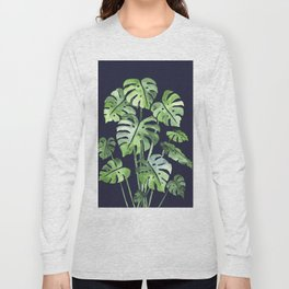 Delicate Monstera Blue #society6 Long Sleeve T-shirt