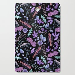 Purple flowers and jewels. Cutting Board