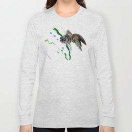 Black Fish, Aquarium Fish Illustration Long Sleeve T-shirt