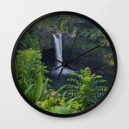 Rainbow Falls in Hawaii Wall Clock