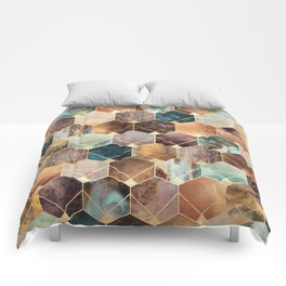 Natural Hexagons And Diamonds Comforters