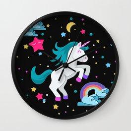 Unicorn in the night Wall Clock