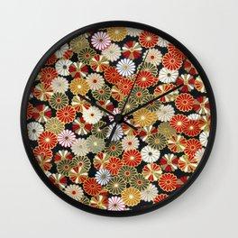 Golden Chrysanthemums Wall Clock