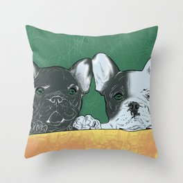 bouledogue au revoir Throw Pillow