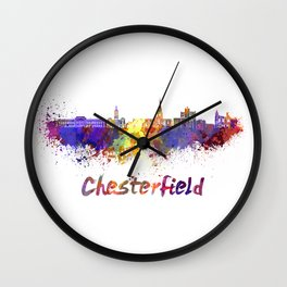 Chesterfield skyline in watercolor Wall Clock