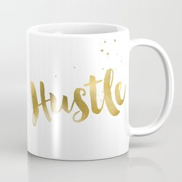 Hustle Gold Motivational Inspirational Quote, Faux Gold Foil Coffee Mug
