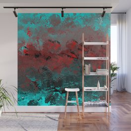 Cool Aqua and Red Abstract Wall Mural