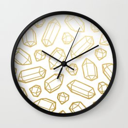 Gold and White Gemstone Pattern Wall Clock
