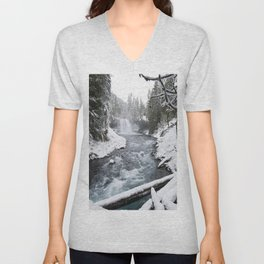 The Wild McKenzie River Waterfall - Nature Photography Unisex V-Neck