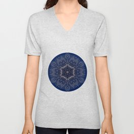 Temptation - Mandala 1 on Blue Backgound  Unisex V-Neck