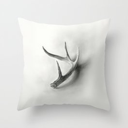 Lost and Found - Deer Antler Pencil Drawing Throw Pillow