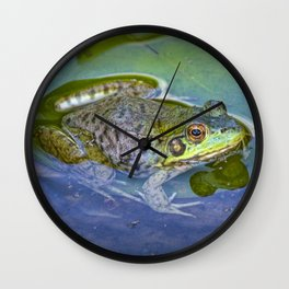 Frog resting on a Lily Pad Wall Clock