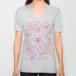 Girly blush pink brown watercolor floral mandala Unisex V-Neck