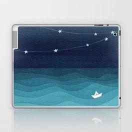 Garlands of stars, watercolor teal ocean Laptop & iPad Skin