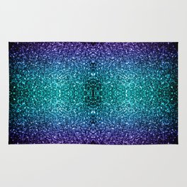 Beautiful Aqua blue Ombre glitter sparkles Rug