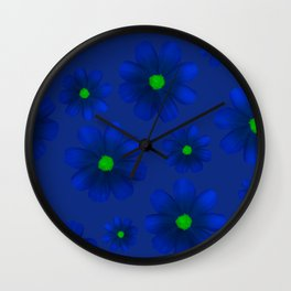 Blue Flowers Beautiful Pattern Wall Clock