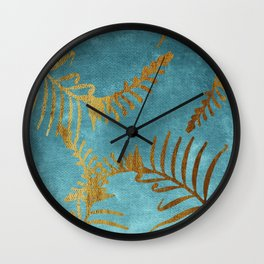 Golden cycas leaves on turquoise canvas Wall Clock