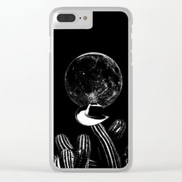 Barking at the moon-Cactus-Cowboy hat-Surreal-Fantasy Clear iPhone Case