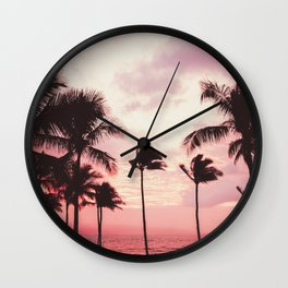 Tropical Palm Tree Pink Sunset Wall Clock