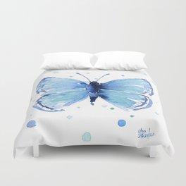 Blue Butterfly Watercolor Butterflies Animals Duvet Cover