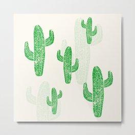 Linocut Cacti Green Metal Print
