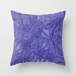 Monstera leaves - Ultra Violet and Lilac Throw Pillow