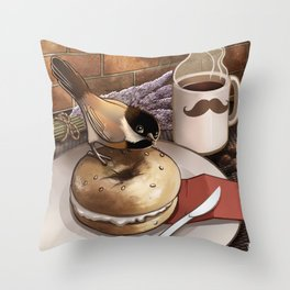 The Bagel Thief Throw Pillow