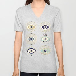 Evil Eye Collection on White Unisex V-Neck