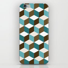 Cubes Pattern Teals Browns Cream White iPhone Skin