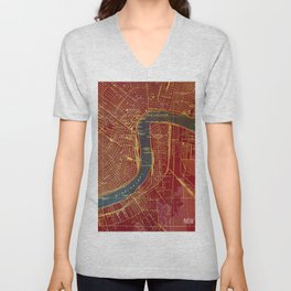 09-New Orleans Louisiana 1932, red and blue old map Unisex V-Neck