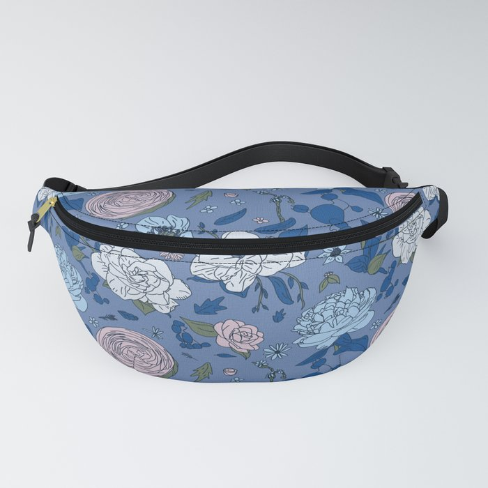 Lovely Seamless Floral Pattern With Subtle Poodles (Hand Drawn) Fanny Pack