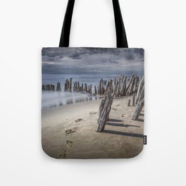 Footprints and Pilings on the Beach at Kirk Park by Grand Haven Michigan Tote Bag