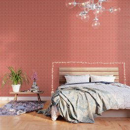 Coral Daisies Patchwork Cosy Homely Quilt Design Wallpaper