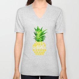 Hawaiian Tropical Summer Beach Luau Pineapple Aloha Unisex V-Neck