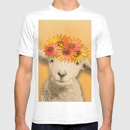 Daisies Sheep Girl Portrait, Mustard Yellow Texturized Background T-shirt