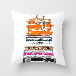 Birkin Bag and Fashion Books Throw Pillow