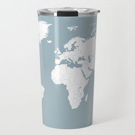Minimalist World Map in Slate Blue Travel Mug