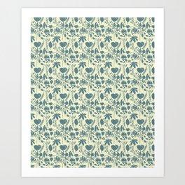 Native Flora On Ecru Pattern Art Print
