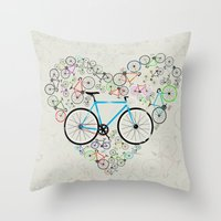 brompton Throw Pillows featuring I Love My Bike by Wyatt Design