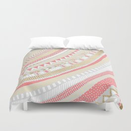 Coral + Gold Tribal Duvet Cover