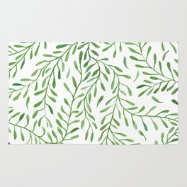 Vivid Green Tendril Botanical Watercolor Pattern Rug
