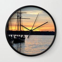 SHIPS AT SUNSET Wall Clock
