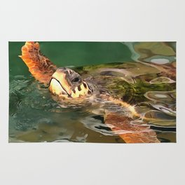 Hands Up For A Plastic Free Ocean Loggerhead Turtle Rug